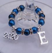 2020 Initial Wine Glass Charm - Full Sparkle Style